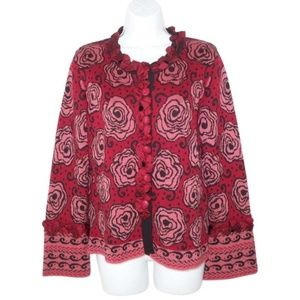 Anthro Covelo M Cardigan Sweater Silk Roses Floral